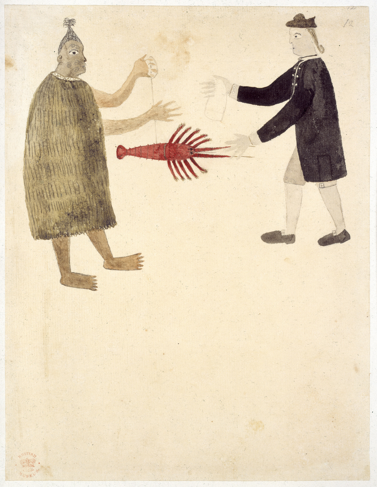File:Maori bartering a crayfish - Drawings illustrative of Captain Cook's  First Voyage (1769