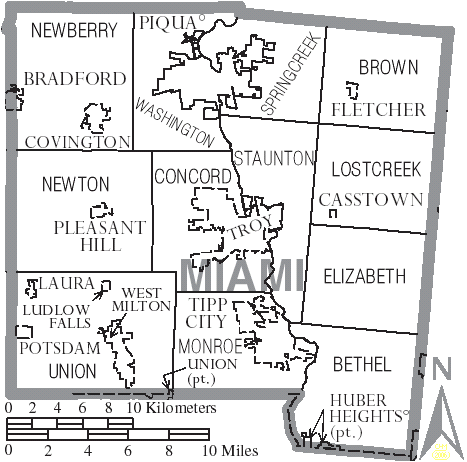 FileMap of Miami County Ohio With Municipal and Township Labels