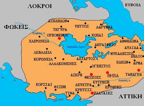 Map of cities in ancient boeotia greek