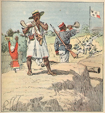 File:Merina troops raising the alarm Henri Gallichet 1850 1923 Louis Charles Bombled 1862-1927 La Guerre a Madagascar 1896.jpg