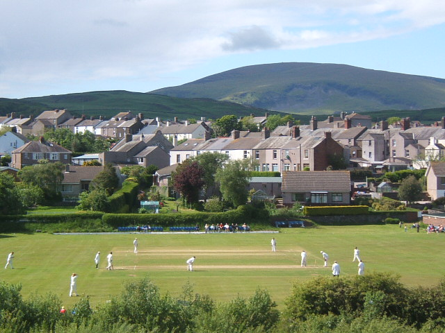 Description Millom cricket ground and Holborn Hill, Black Combe behind ...