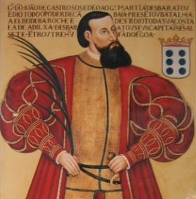 Joao de Castro, Viceroy of Portuguese India, established Portuguese rule in Thoothukudi (1548 to 1658) Painel de D. Joao de Castro, Patrono do IPE, exposto na Sala D. Joao de Castro (cropped).png