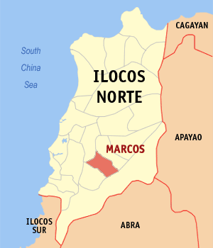 Map of Ilocos Norte showing the location of Marcos