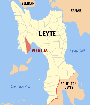 Map of Leyte showing the location of Merida