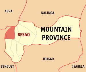 Map of Mountain Province showing the location of Besao