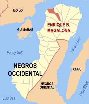 Map of Negros Occidental showing the location of Enrique B. Magalona