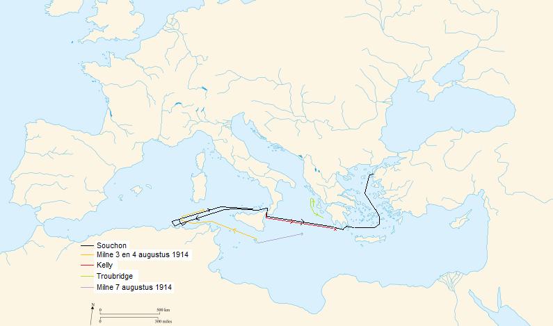 Route van de diverse betrokken schepen, aangeduid naar hun bevelhebbers