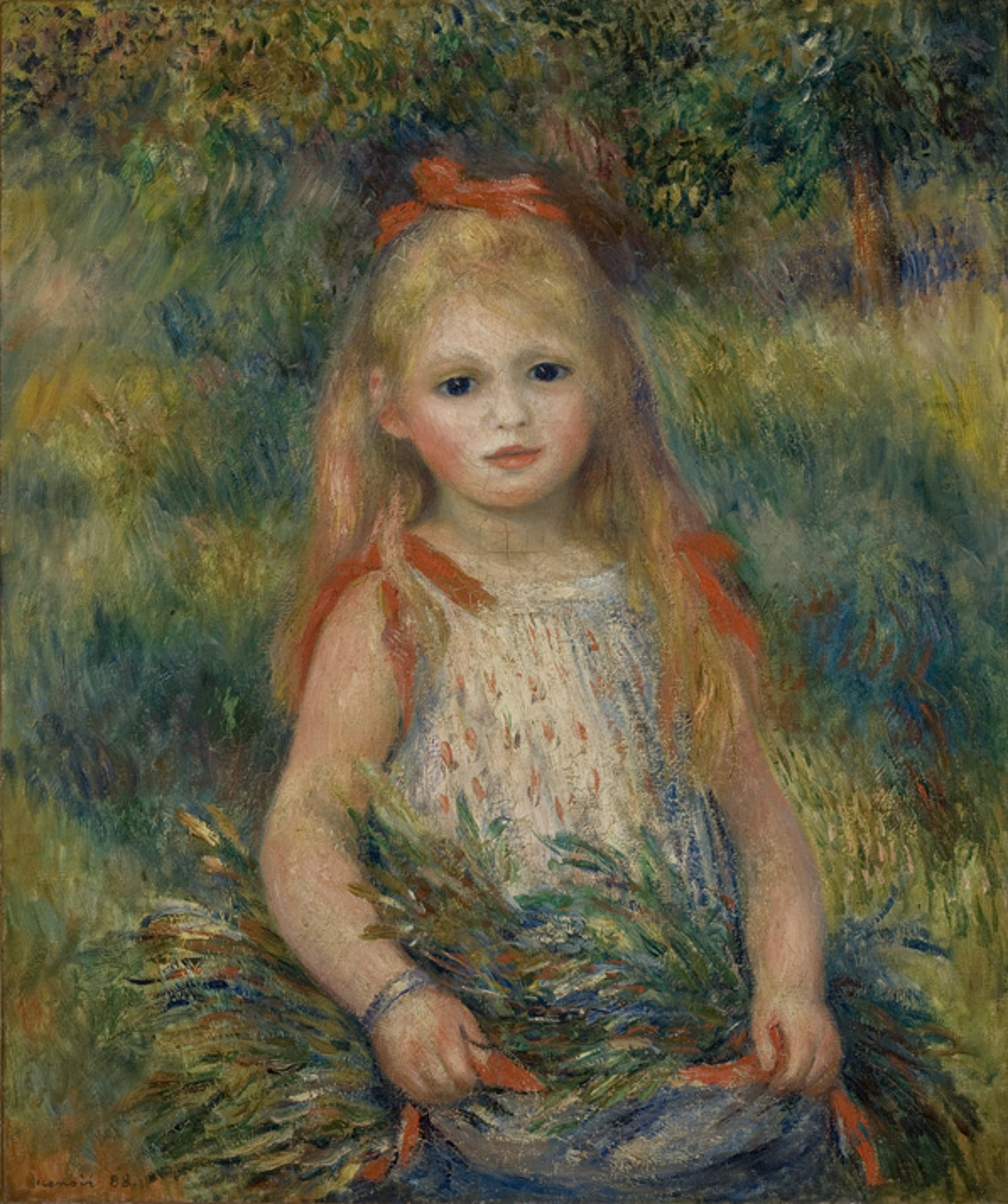 Niña con flores, de 1888. Pierre-Auguste Renoir
