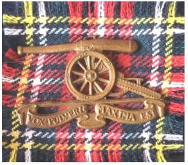 SADF 7 Medium artillery beret badge and backing