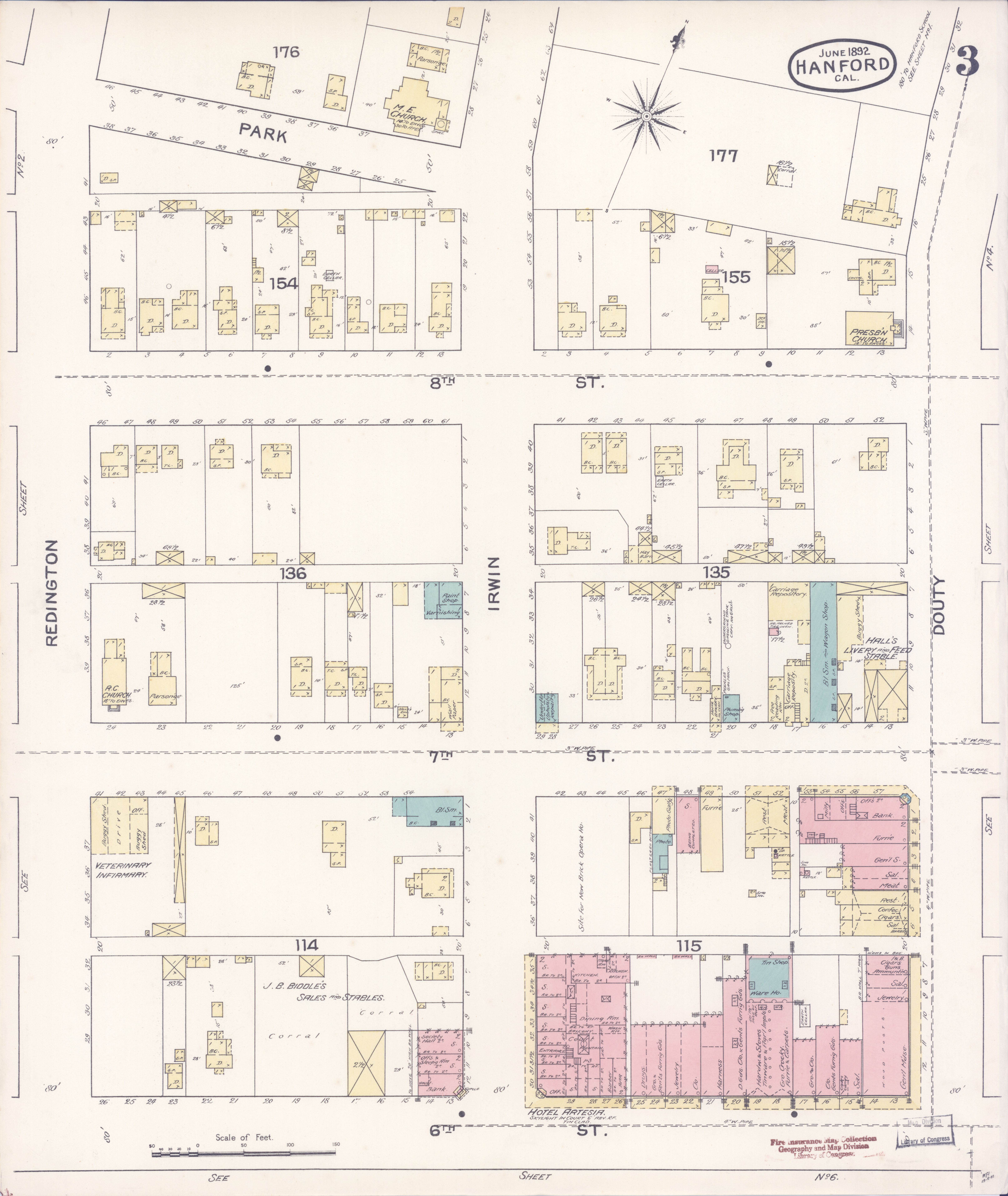 Kings County California Map.File Sanborn Fire Insurance Map From Hanford Kings County