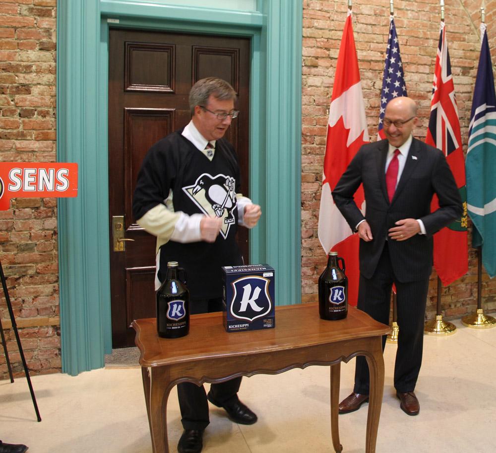 Senators-Penguins Wager (8871823486).jpg Ambassador Jacobson and Ottawa Mayor Jim Watson today cleared their wager on the Senators-Penguins series