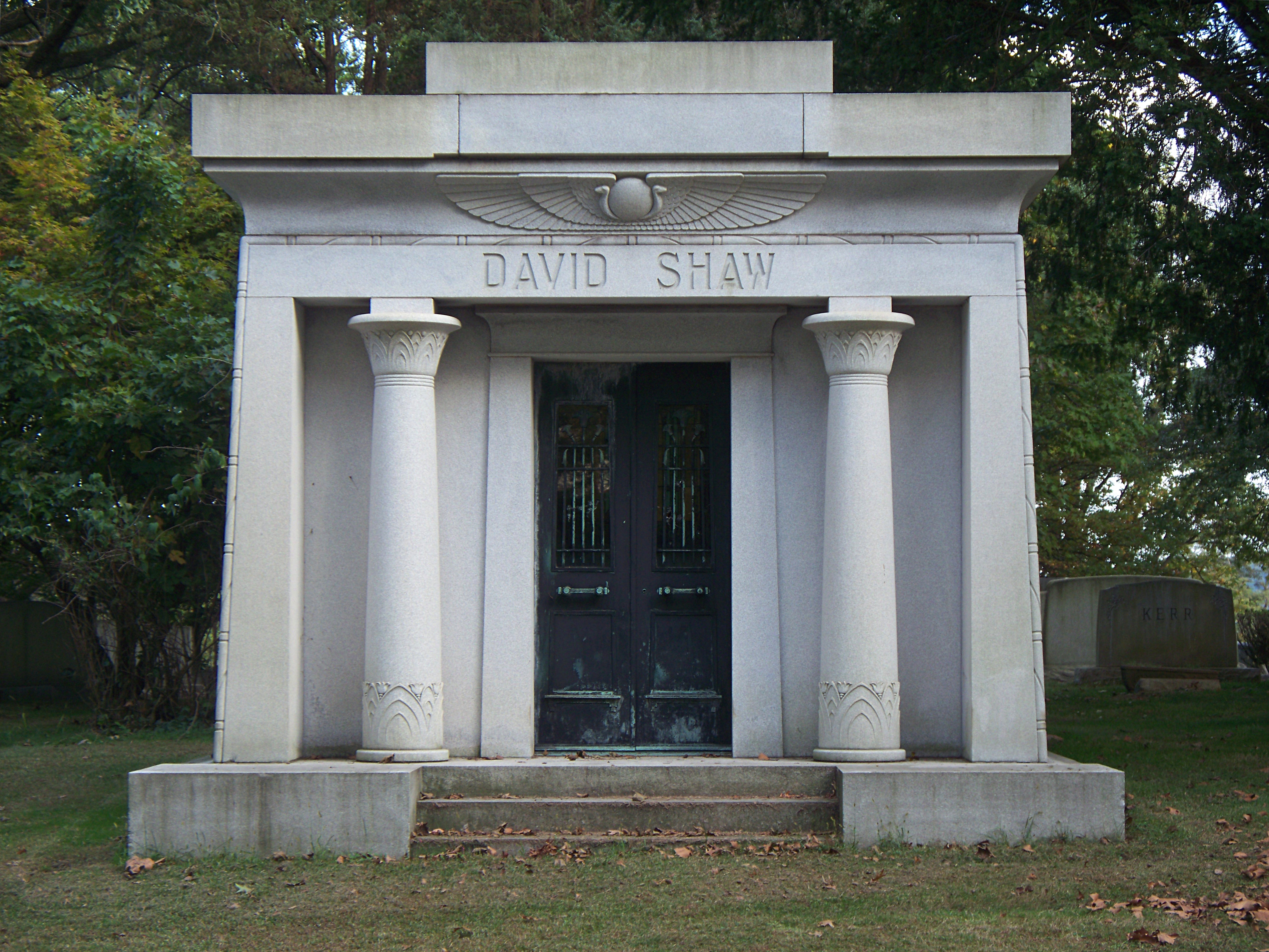 A standard Egyptian-style mausoleum with lotus-flower bronze doors and a matching stained-glass window. & Egyptian Architecture | Pittsburgh Cemeteries Pezcame.Com