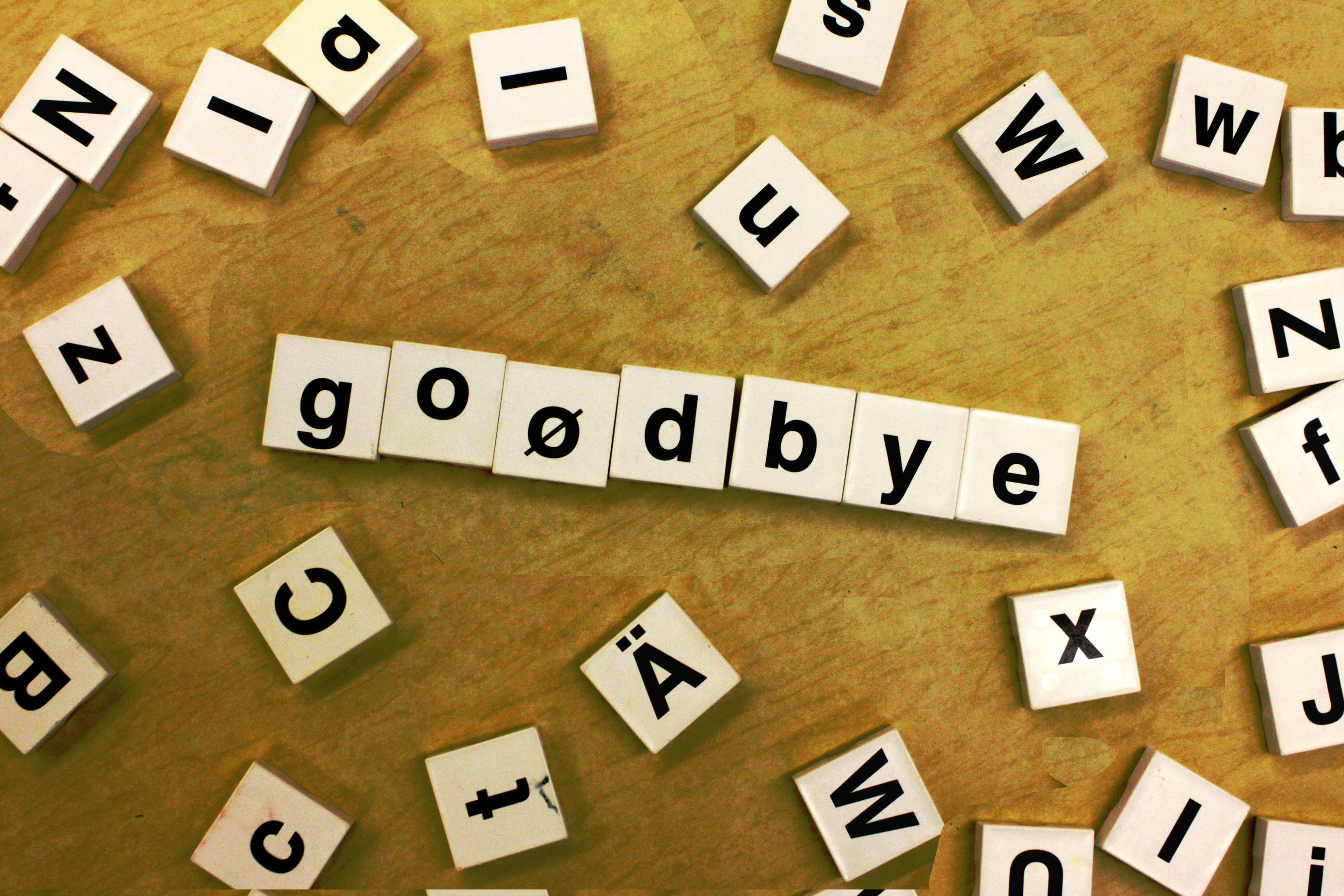 4 November 2020 English Goodbye blocks on the floor to represent social media when someone has died.