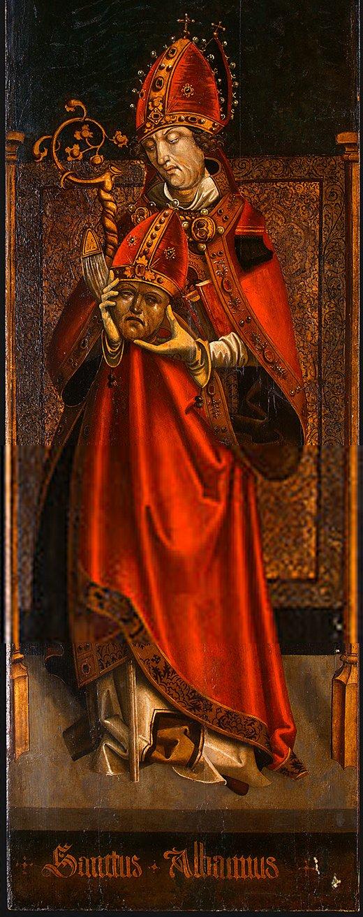 Anonym tyrolsk maler: Den hellige Alban av Mainz (ca 1500/1525)