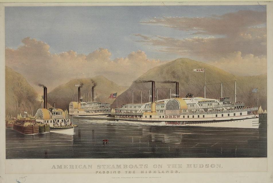 Description steamboats on hudson river at highlands