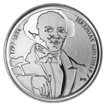 Jeremias Gotthelf auf der 20-Franken-Gedenkmünze von 1997 anlässlich seines 200. Geburtstages, gestaltet von Samuel Buri (Quelle: Wikimedia)