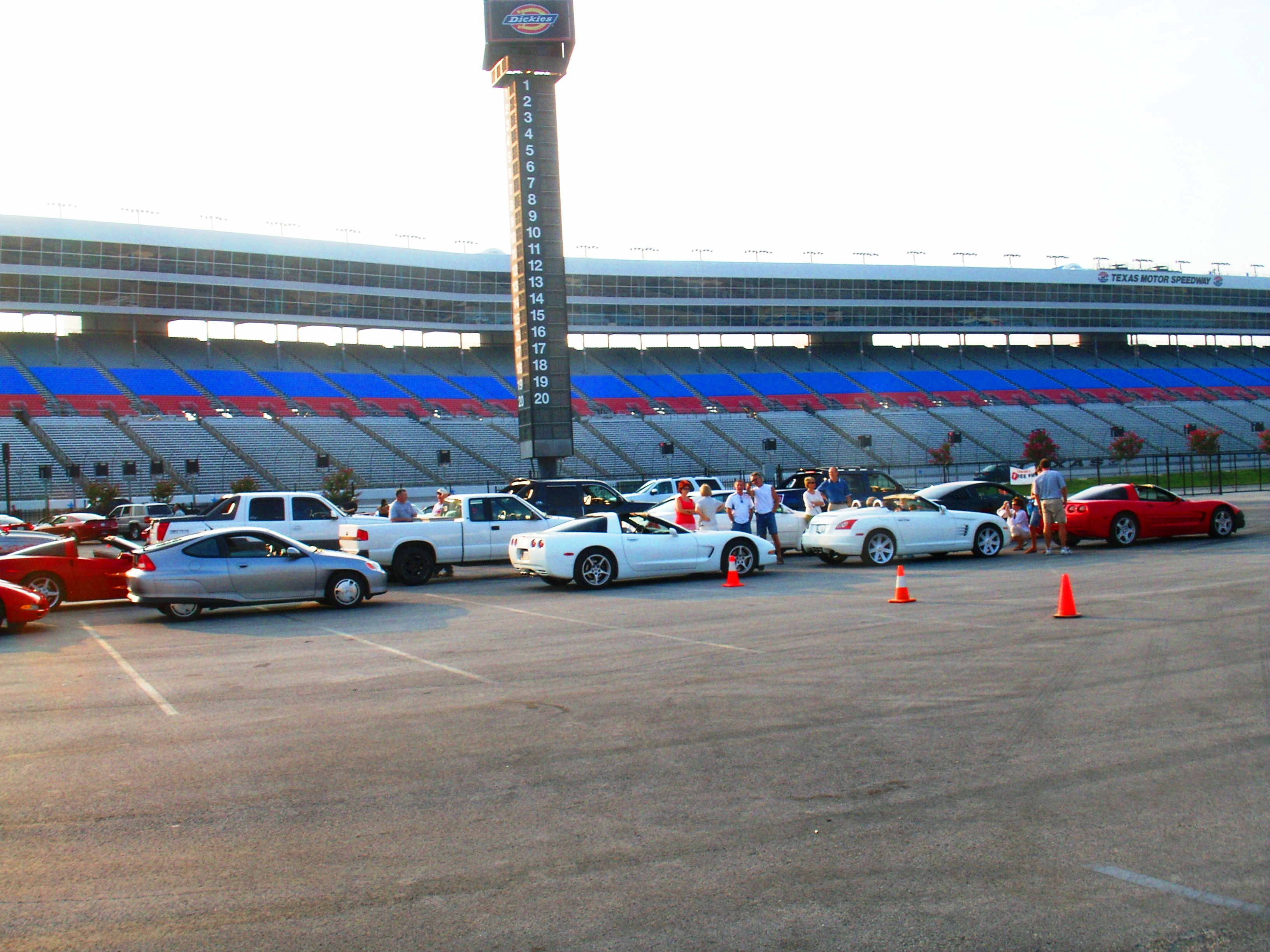 File:Texas Motor Speedway Fort Worth, TX – Drivers get out of their cars to discuses cars while others such as myself are just happy for this rare ...