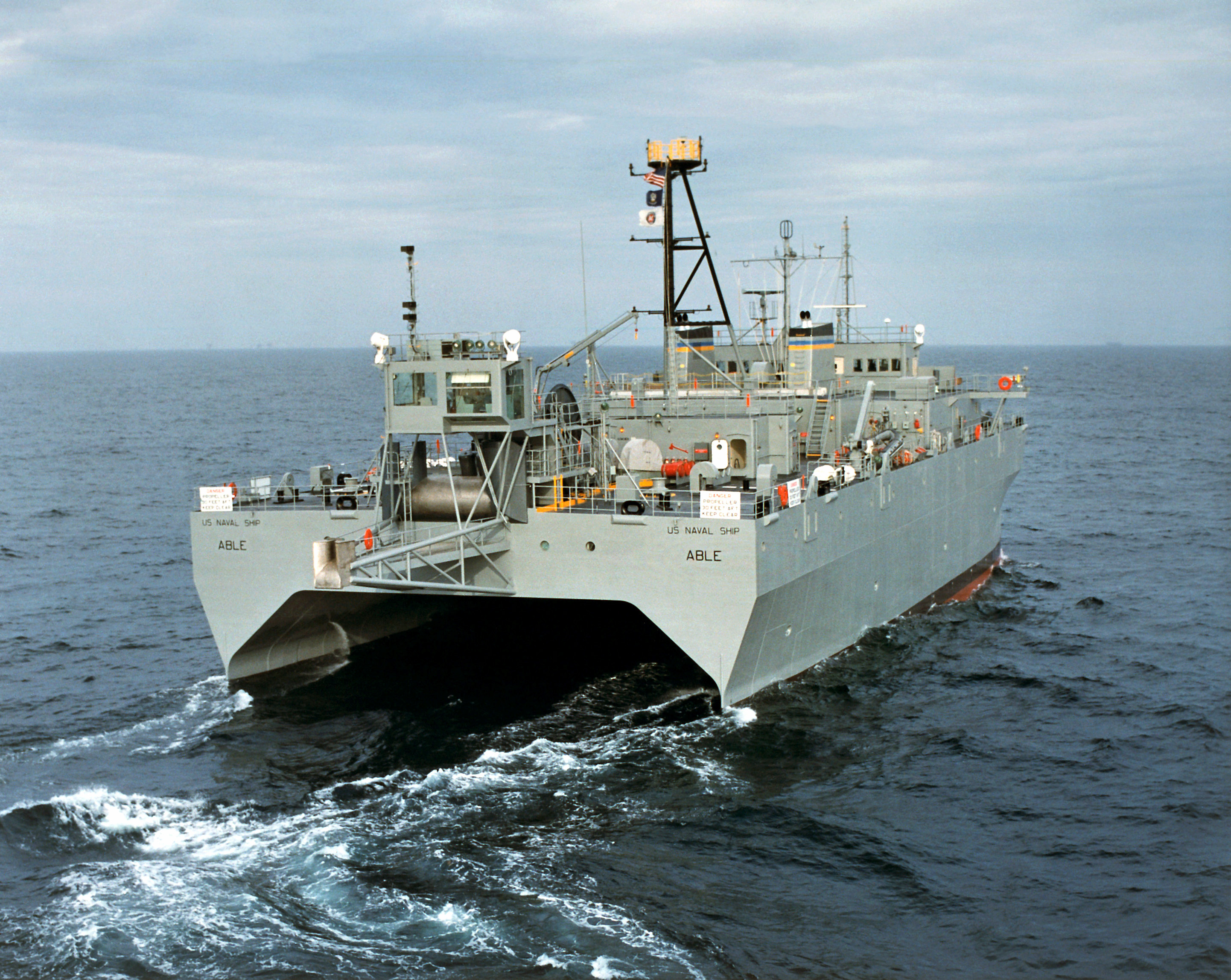 A starboard quarter view of the ocean surveillance ship USNS ABLE