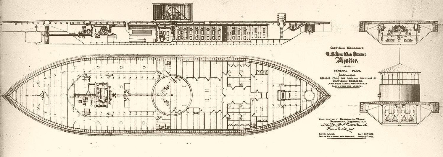 Inboard plans of USS Monitor