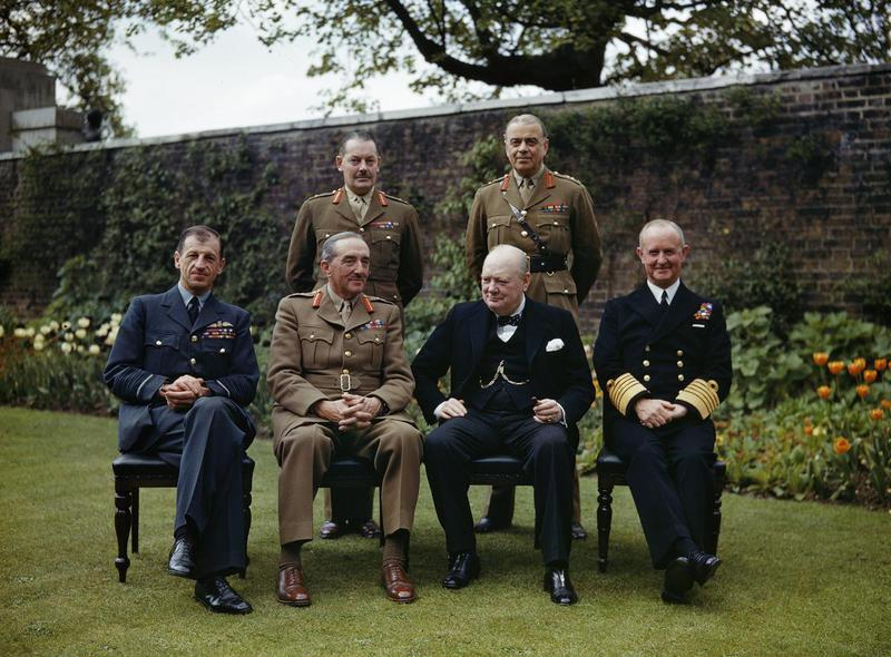 File:Winston Churchill with his Chiefs of Staff in the garden of 10 Downing Street, 7 May 1945. Seated, left to right- Air Chief Marshal Sir Charles Portal; Field Marshal Sir Alan Brooke; Winston Churchill; Admiral Sir Andre TR2842.jpg