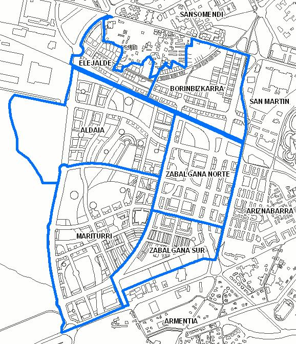 Nombres y limites de los barrios del distrito de Zabalgana.