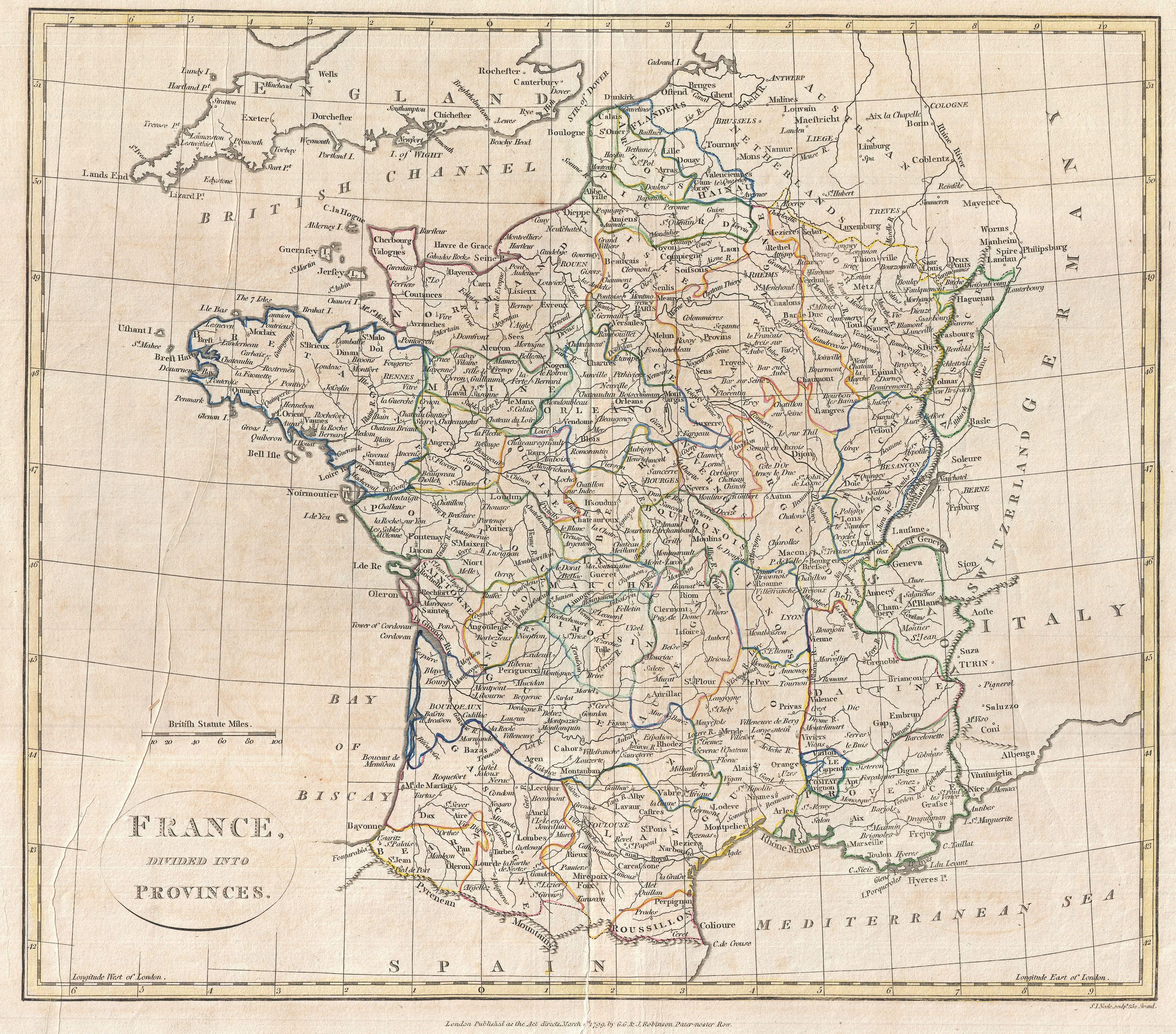 Map Of France Provinces.File 1799 Clement Cruttwell Map Of France In Provinces
