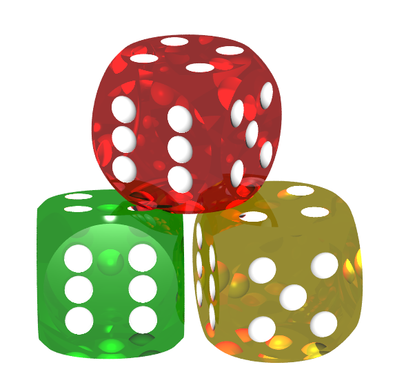 three 6-sided dice