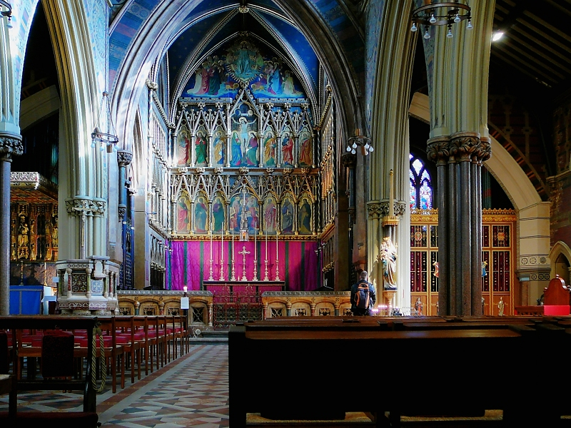 "All Saints, Margaret Street by Beresford-Hope and Butterfield was immediately influenced by Ruskin's essay, particularly in its structural use of brick, rather than for surface decoration. ""All Saints Margaret Street interior"" photo by Russ London"