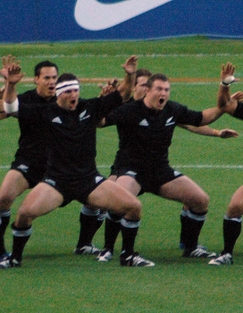 All Black haka before a match against France, ...