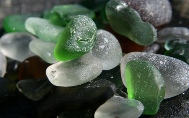 green white and amber sea glass with rounded edges