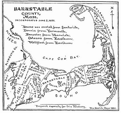 1890 Map of Barnstable County, Massachusetts showing the location and dates of incorporation of towns Barnstable county 1890.PNG