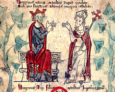 Early 14th-century representation of Henry II and Thomas Becket, arguing BecketHenryII.jpg