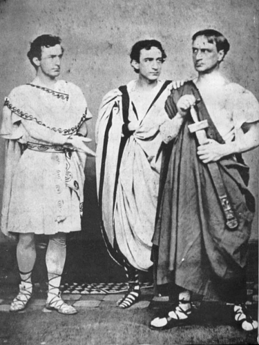 John Wilkes Booth, Edwin Booth, and Junius Booth, Jr. in an 1864 production of Julius Caesar. (Public domain)