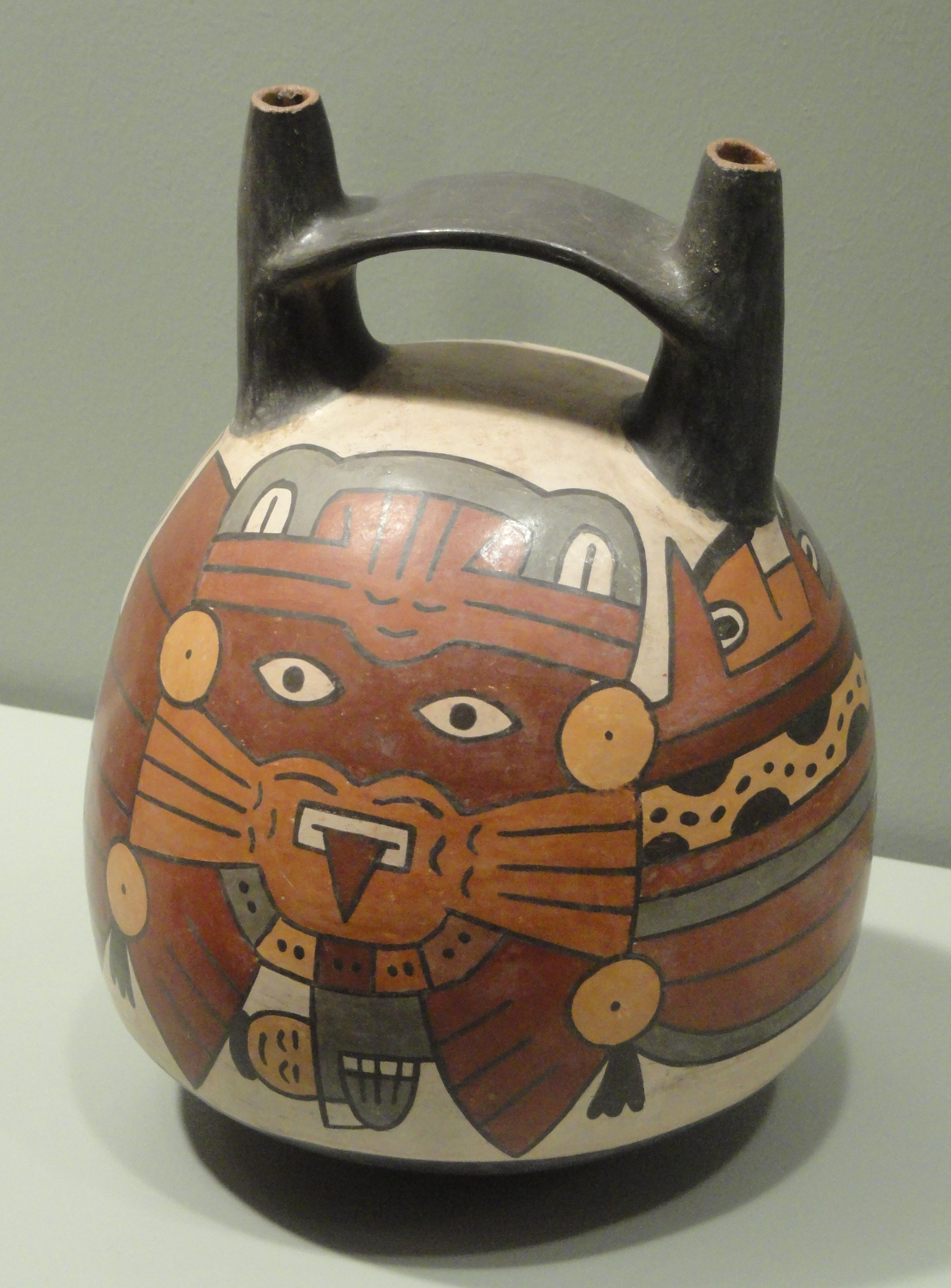 File Bridge Spouted Bottle With Anthropomorphic Mythical Being Warrior 100 300 Ad Nasca