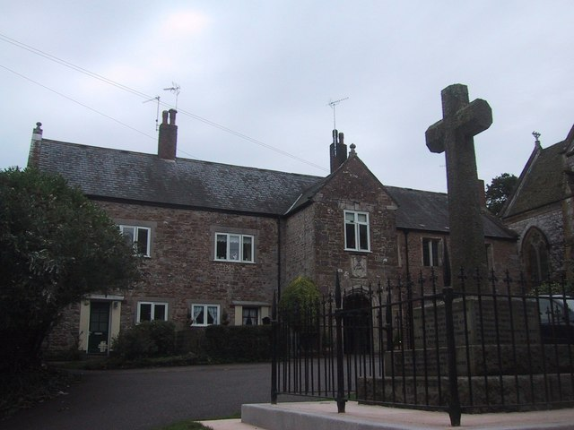 Building and Cross in front of Otterton Church - geograph.org.uk - 956350