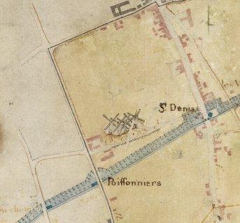Fichier:Butte des Cinq Moulins, sur le plan de circonvallation de Paris, 1789.jpg