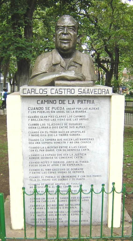 Busto de Carlos Castro Saavedra, ubicado en El Parque de Boston, Medellín, Colombia. Bajo este busto se encuentra su poema Camino de la Patria
