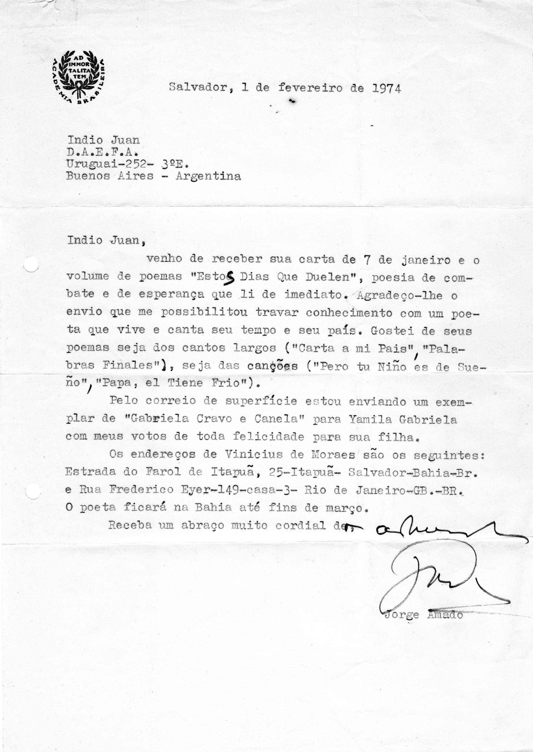 Carta de aliento del escritor brasileño Jorge Amado a Indio Juan sobre el libro Estos días que duelen. Salvador, 1 de febrero de 1974.