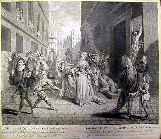 Depart des comediens italiens en 1697, engraving by Louis Jacob of the painting by Watteau Depart Comediens italiens.jpg