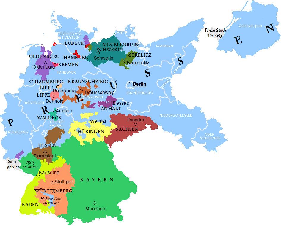 Federal States of the Weimar Republic. Prussia is light blue. After WWI the Provinces of Posen and West Prussia came largely to the 2nd Polish Republic; Posen-West Prussia and the West Prussia district were formed from the remaining parts.