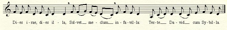 "The ""Dies Irae"" melody in treble clef."