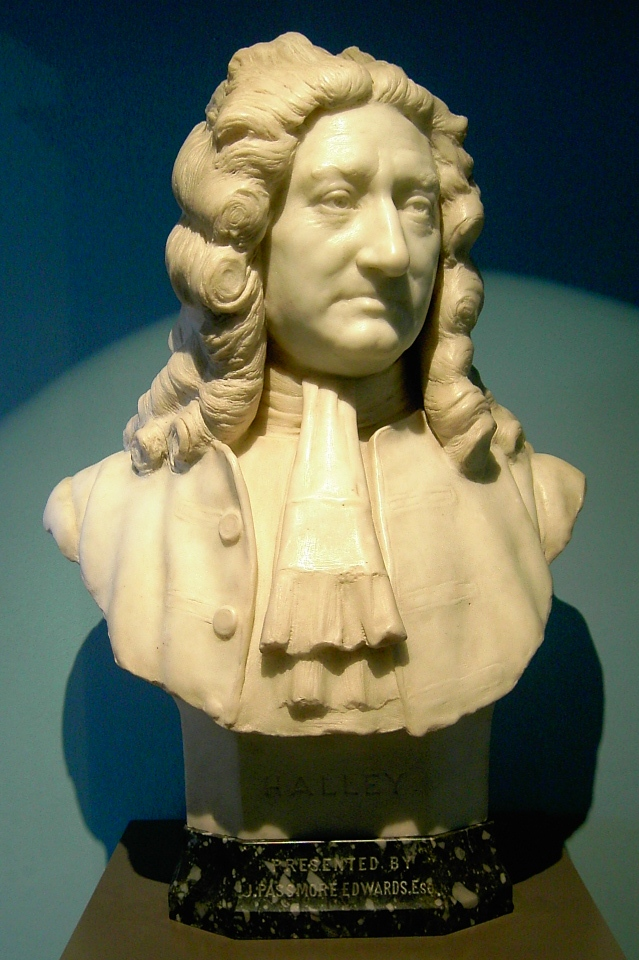 Busta Edmonda Halleyho v Muzeu Royal Greenwich Observatory
