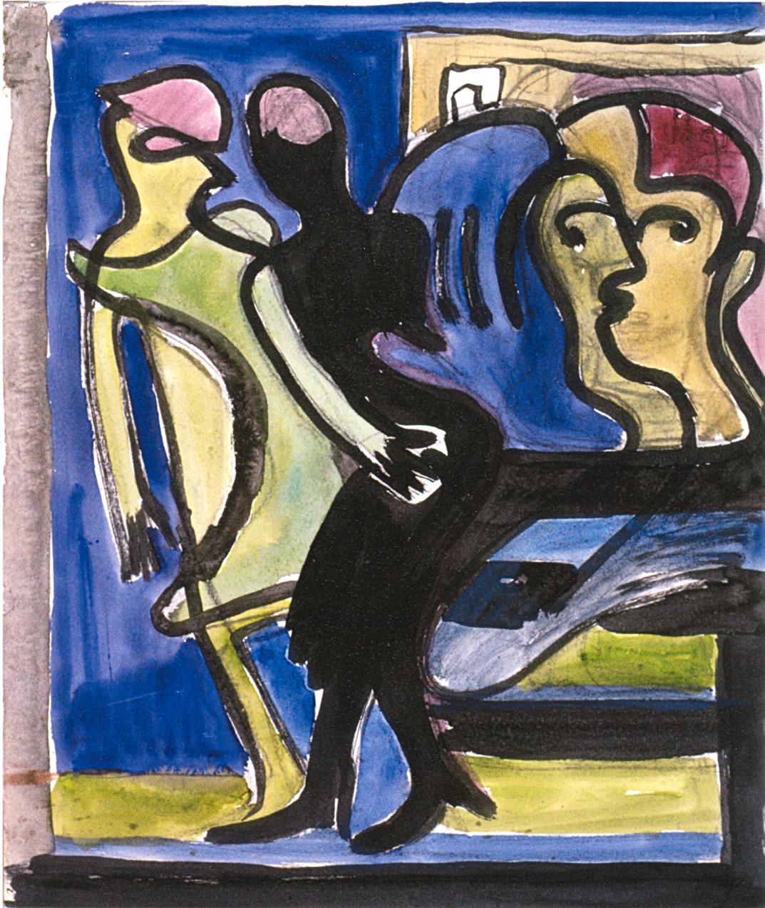 Ernst Ludwig Kirchner - Strasenszene - Durchblick in Cafe 1935 - Quelle: WikiCommons, siehe Angabe im Artikel