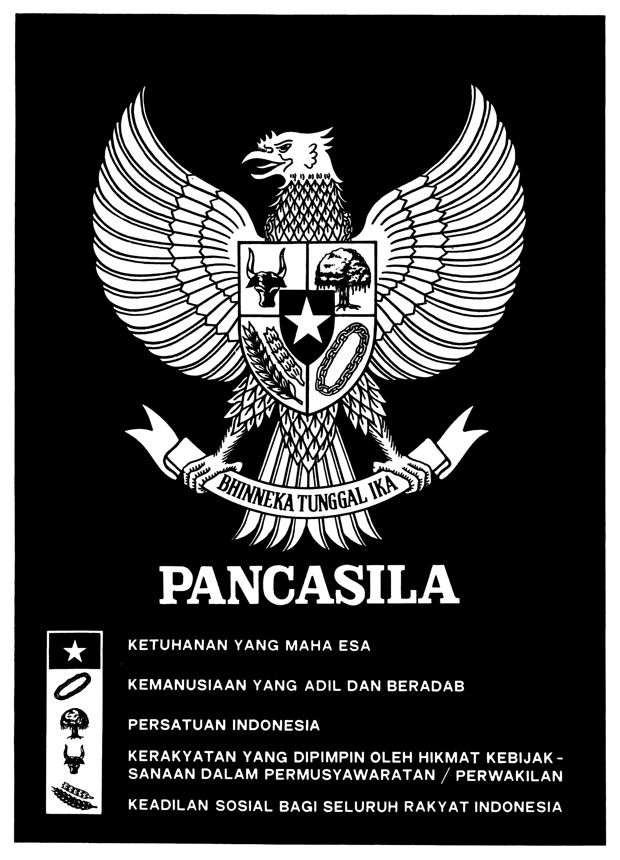 File Garuda Pancasila Poster Black And White Jpg Wikimedia Commons