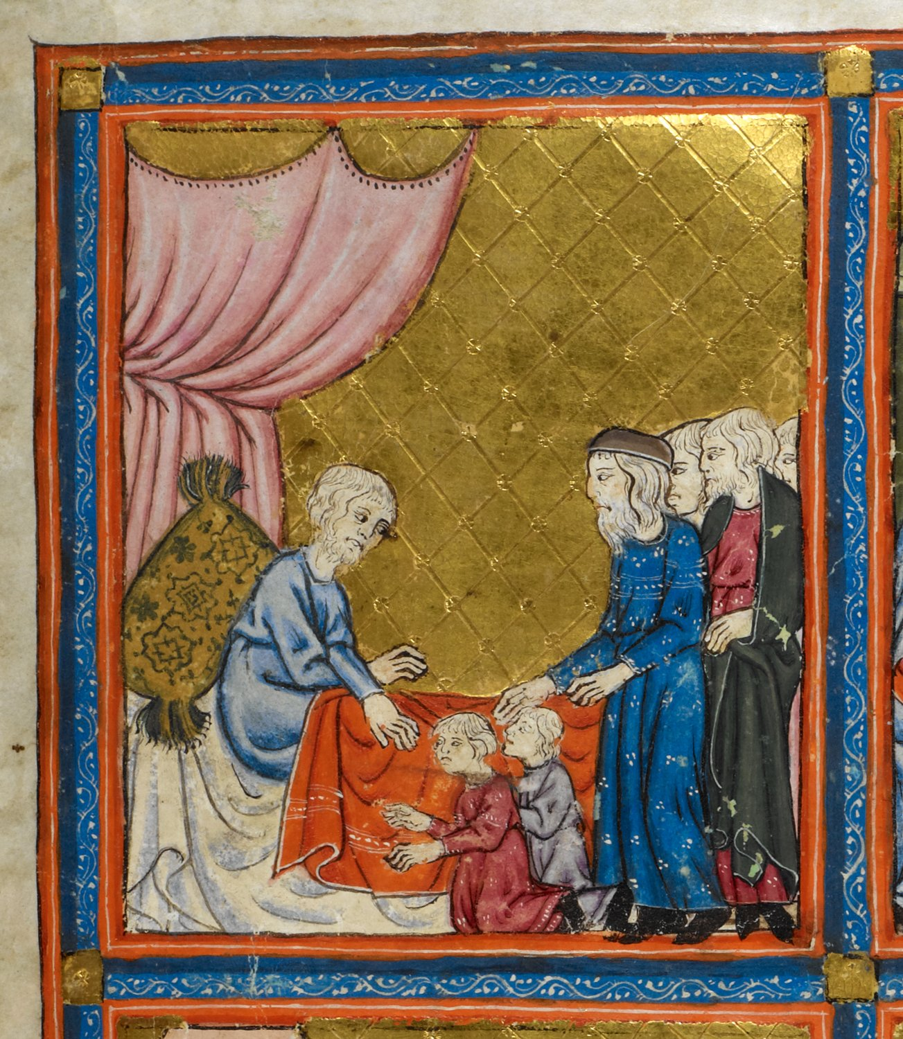 Golden Haggadah Jacob Blessing Ephraim and Manasseh