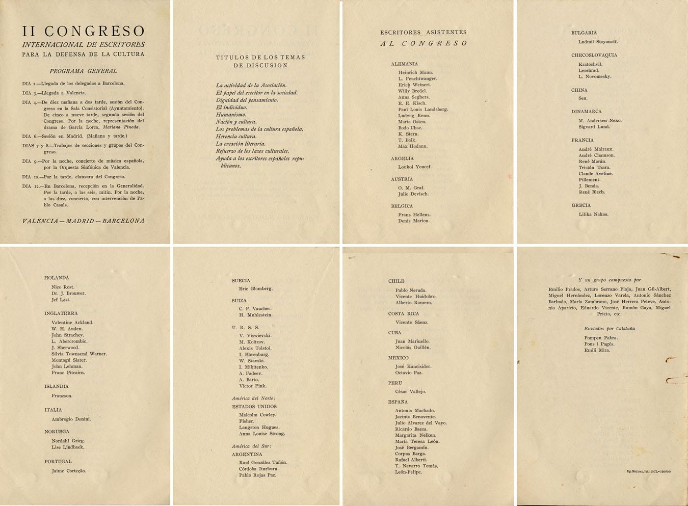 II Congreso internacional de escritores para la defensa de la cultura.