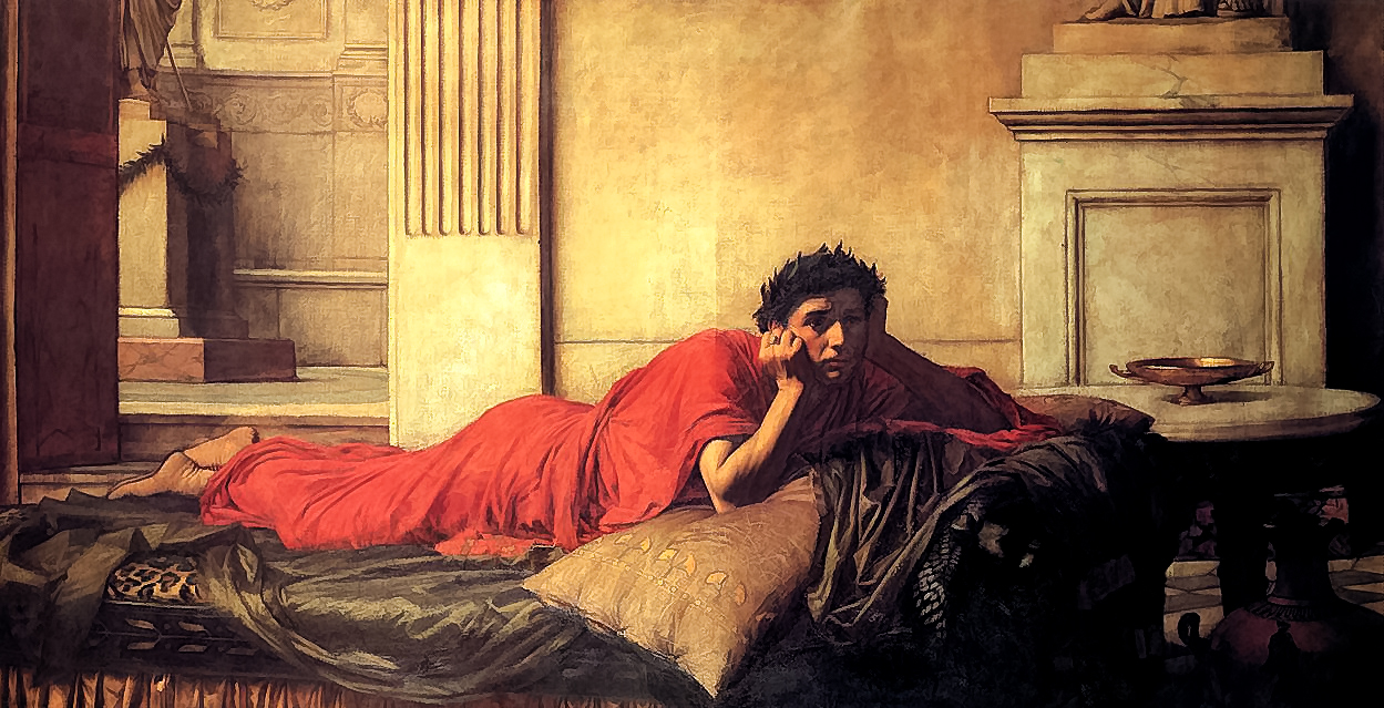John William Waterhouse, The remorse of Nero after the murder of his mother (1878). Wikimedia commons.