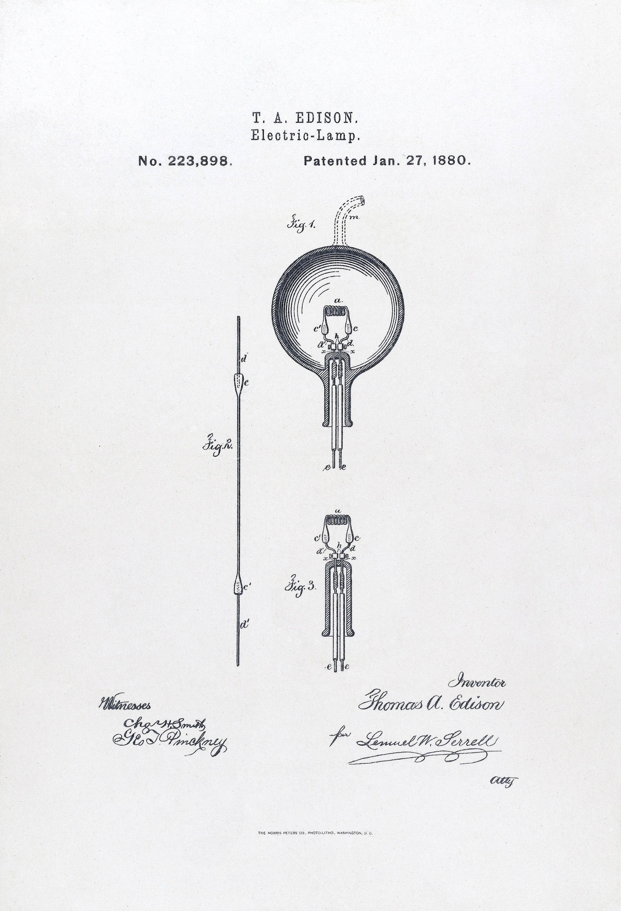 US Patent223898 Electric Lamp Issued January 27 1880