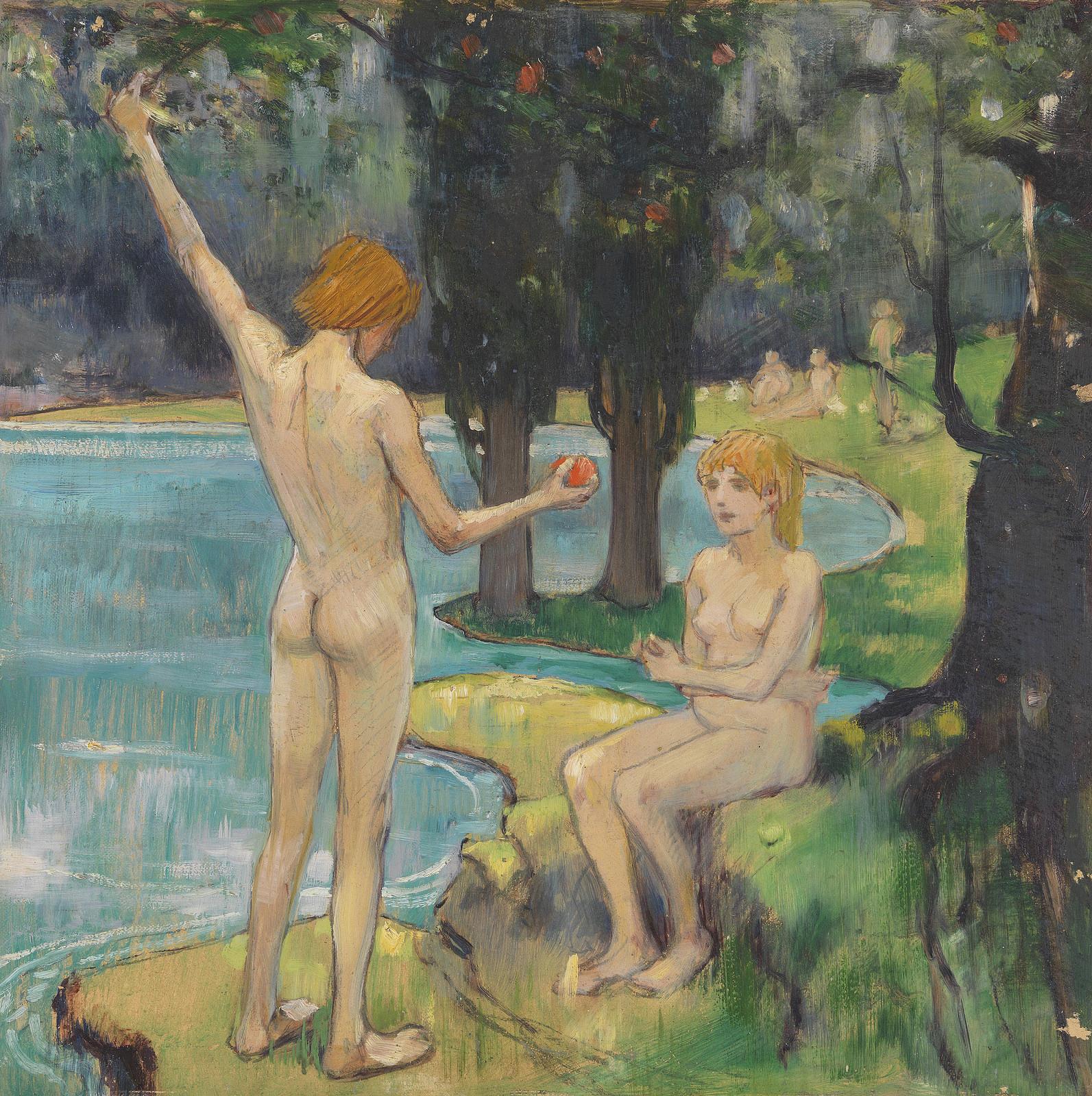"""""""Adam und Eva (Paradies)"""" by Ludwig von Hofmann"""