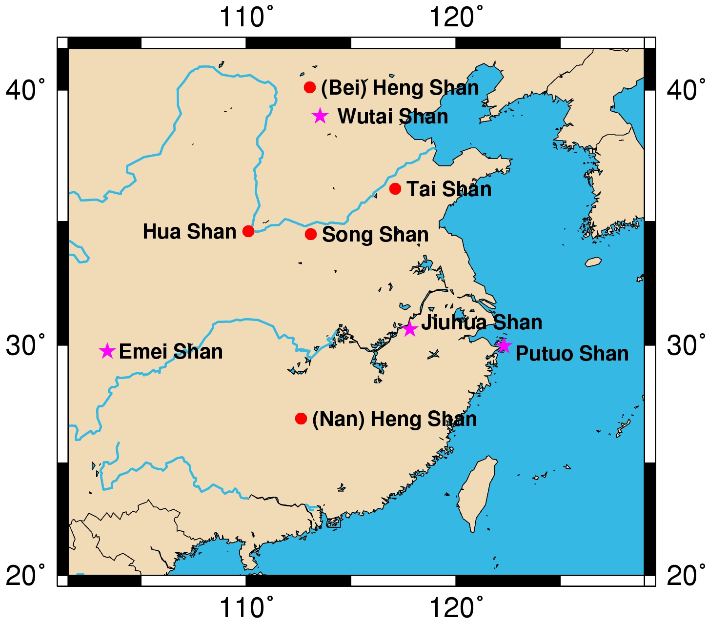 Image of: File Map Sacred Mountains Of China Jpg Wikimedia Commons